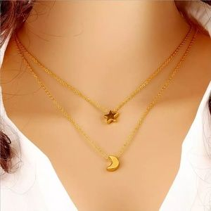 Jewelry - The Stars and Moon Dainty Gold Necklace